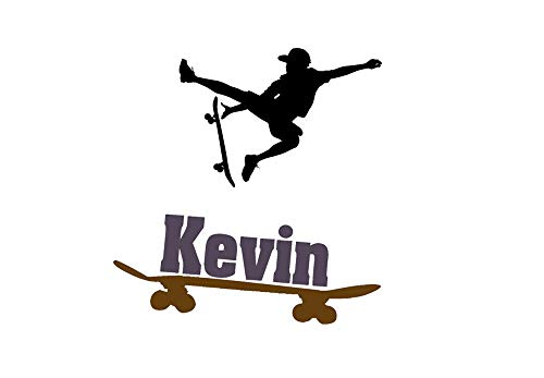 aluckyhorseshoe Boys Room Skateboarder Sticker, Teen Boys Personalized Wall Decal, Childs Room Name Decal, Kids Bedroom Decor, Skateboard (36 X 37 inches)