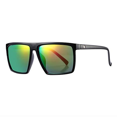Square Sunglasses for Men Women Oversized Cool Retro Brand Designer Sun Glasses (Black Frame/Multicolor Mirror Lens)