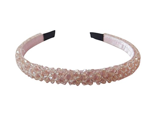 Vogue Hair Accessories Plastic Pink Crystal Beaded Hair Band for Women and Girls