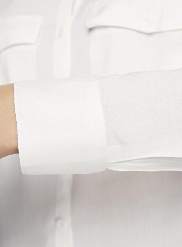 Ultra Femme Chemisier Basique 1200n en Blanc Viscose oodji adCwqC