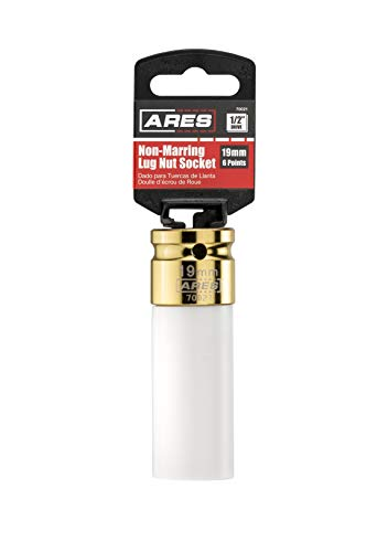 ARES 70021 | 1/2-inch Drive 19MM Non-Marring Lug Nut Socket | Protective Sleeve Protects Custom Rims and Lug Nuts from Damage| Color Coded and Laser Etched for Easy Identification