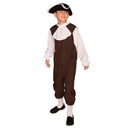 Arology Colonial Boy Child Size Costume Fabric for Comfortable Fit, Including Shirt with Collar and Pants (Large (12-14)) -