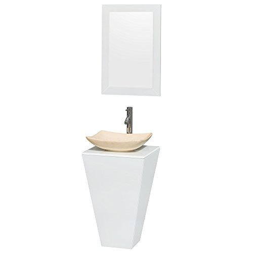 Vanity Pedestal Stone Marble (Wyndham Collection Esprit 20 inch Pedestal Bathroom Vanity in Glossy White, White Man-Made Stone Countertop, Arista Ivory Marble Sink, and 20 inch Mirror)