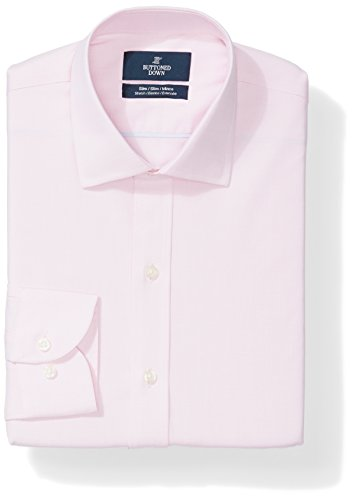 Buttoned Down Men's Slim Fit Stretch Poplin Non-Iron Dress Shirt, Pink, 16
