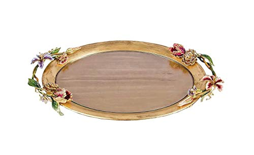 (Jay Strongwater Floral Oval Tray 24K Gold Leaf Tulips )