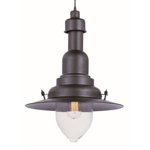 Maxim 25113CLBZ Hi-Bay 1-Light Pendant, Bronze Finish, Clear Glass, MB Incandescent Bulb , 100W Max., Damp Safety Rating, 2700K Color Temp, Standard Dimmable, Glass Shade Material, 3450 Rated Lumens by Maxim Lighting