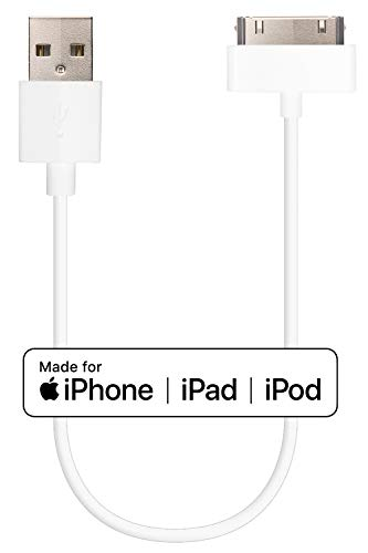 Short 30 pin iPhone 4 Cable by HomeSpot Apple MFi Cerified 8 20cm for iPhone 4S 3G / 3GS, iPad 3 2 1 iPod - 1 Pack