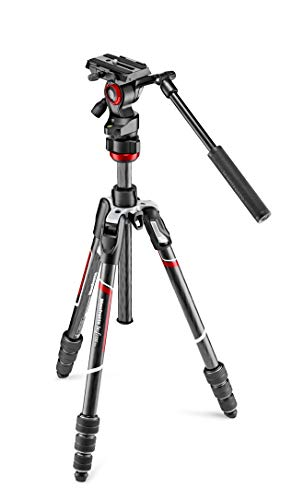 Manfrotto MVKBFRTC-LIVEUS Befree Live Carbon Fiber Video Tripod Kit with Fluid Head, M-Lock Twist Leg Locks, Black