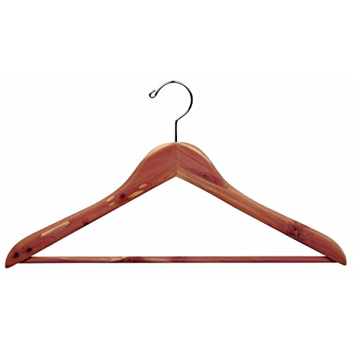 The Great American Hanger Company Cedar Wood Suit Hanger with Bar, Unfinished Curved Hangers with Fresh Cedar Scent and Chrome Swivel Hook box of 50 by The Great American Hanger Company