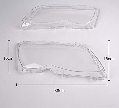 [Fengo] 2 PCs of Clear Front Headlight Lens Cover Fit for 2001-2005 BMW 3-Series 4 Doors Only E46 320i 325i 325xi 330i 330xi 323i(2000) 328i(1999-2000) - OE Style + Easy Installation
