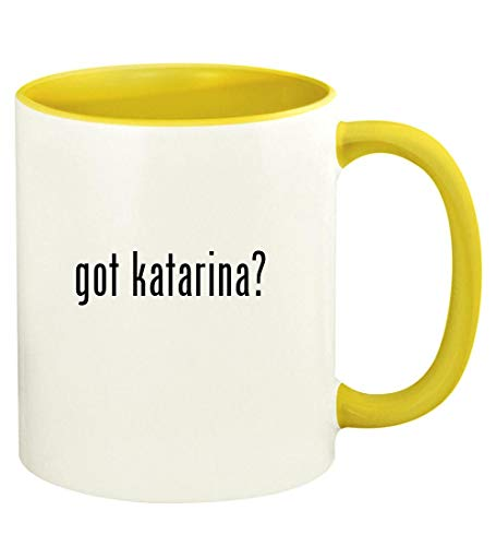 got katarina? - 11oz Ceramic Colored Handle and Inside Coffee Mug Cup, Yellow