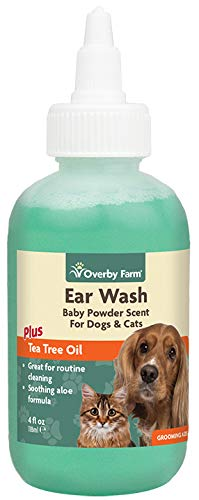 Overby Farm Ear Wash for Dogs & Cats | Tea Tree & Aloe Oil Liquid Formula | Gentle Ear Wax, Debris & Odour Solution | Best Ear Cleaning Health Care for Pets | Ear Cleaner for All Breeds, Ages 1