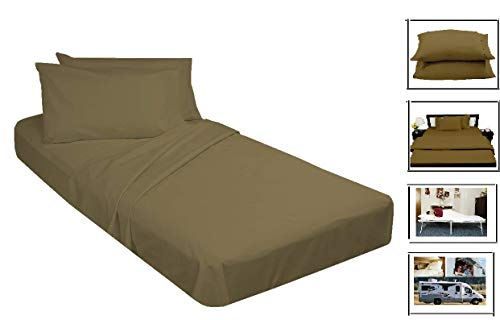 """Cot Sheets Set (30"""" X 75"""") 4 PCs 400 Tc with 6 Inch Deep Pocket Taupe Solid. Cot Sheets for Daycare/Folding Bed/Rollaway Bed/Camp Bunk Beds/RVs/Guest Beds cot Sheet Set."""