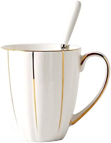 Coffee cups mugs Tea Mug,Household Large-capacity Bone China Cup, Hand-painted Gold Coffee Cup, Afternoon Tea Drinking Cup, Office Tea Cup (Color : White, Size : 420mL)