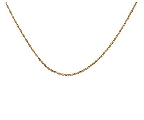 10K Solid Yellow Gold Diamond Cut Loose Rope Chain Necklace- 1MM thick all lengths available 15