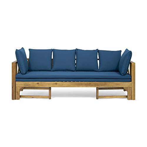Great Deal Furniture Camille Beach Outdoor Extendable Acacia Wood Daybed Sofa, Teak and Dark Teal