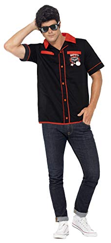 Smiffy's Men's 50's Bowling Shirt, Black L - US Size 42