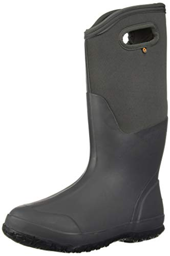 BOGS Women's Classic Solid Snow Boot, Tall Matte Dark Gray, 8 Medium US (Winter Bogs Boots Women)