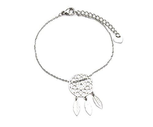 BC2236F - Bracelet Fine Chaîne avec Charm Attrape-Rêves Dreamcatcher avec Plumes Acier Argenté