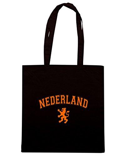 T-Shirtshock - Bolsa para la compra T0582 Nederland calcio ultras Negro
