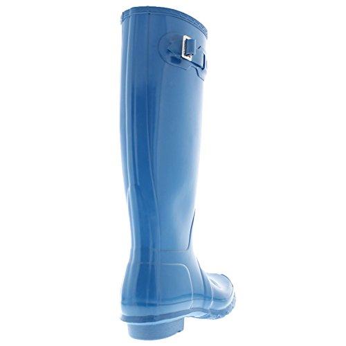 Hunter Damen Original Tall Regen Boot, Schwarz Glanz, 8 B (M) US Meerblau
