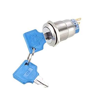 uxcell 19mm Mounting Thread Waterproof Flat Round SPDT 1NO 1NC Latching Stainless Steel Metal Key Switch with 2 Keys UL Recognized: Automotive