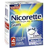 (Nicorette 4mg Coated White Ice Mint - 100 ct, Pack of 2)
