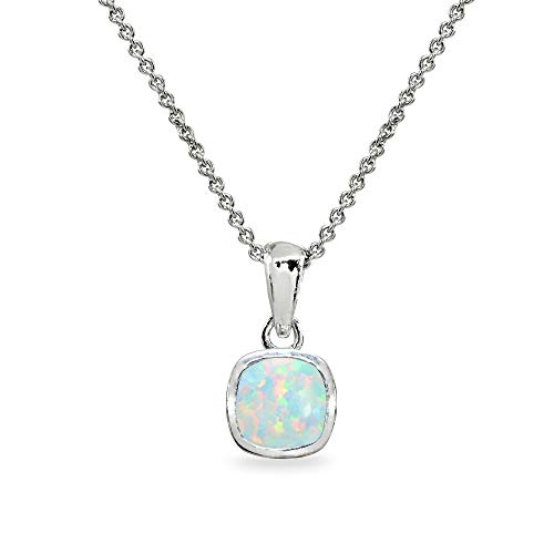 Sterling Silver Simulated White Opal 7mm Cushion-Cut Bezel-Set Dainty Pendant Necklace Cushion Cut Opal Ring