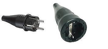 Sehr Gummi-SCHUKO-Stecker IP44 & Gummi-SCHUKO-Kupplung IP20 schwarz Set NS47