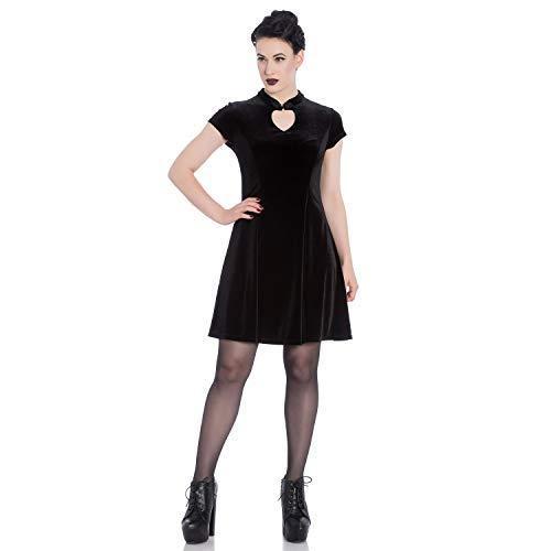 6c509c33ea Hell Bunny Mika Black Red Velvet Christmas Keyhole Vintage Mini Skater Dress   Amazon.co.uk  Clothing