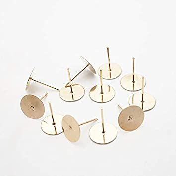 Color: Gold Plated 200PCS, Size: 10MM Laliva 200pcs Metal Blank Earring Stud Base Fit 3 4 5 6 mm Gold Earring Post Flat Base Pins Settings DIY Jewelry Making HK022