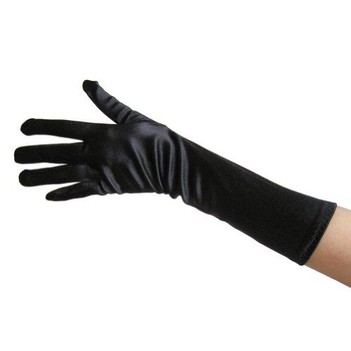 Black Satin Gloves (Elbow Length) ~ Formal, Wedding, Theatrical, Costume Party (Vampire Fancy Dress Women)