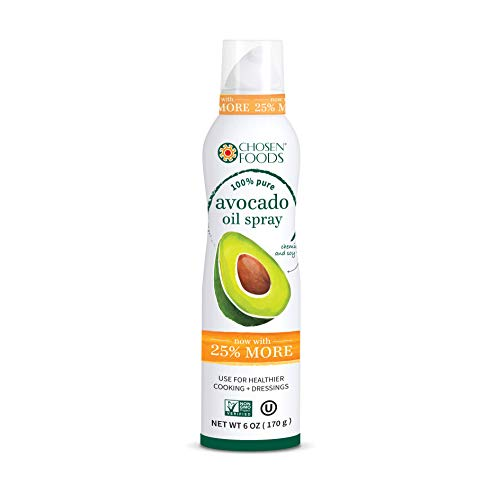 - Chosen Foods 100% Pure Avocado Oil Spray 6 oz., Non-GMO, 500° F Smoke Point, Propellant-Free, Air Pressure Only for High-Heat Cooking, Baking and Frying