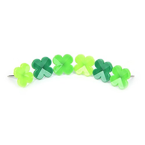 LONG7INES Set of 24 Pcs Four-leaf Clover Push Pins Thumb Tacks Drawing Pins for School, Home, Office Use, Green Photo #2