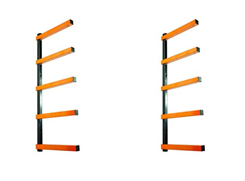 (KASTFORCE KF1002 Lumber Storage Rack 5-Level System 110lbs per Level with Material Stop Holes and Durable Sheet Metal Screws, Wood Rack, Workshop Rack)