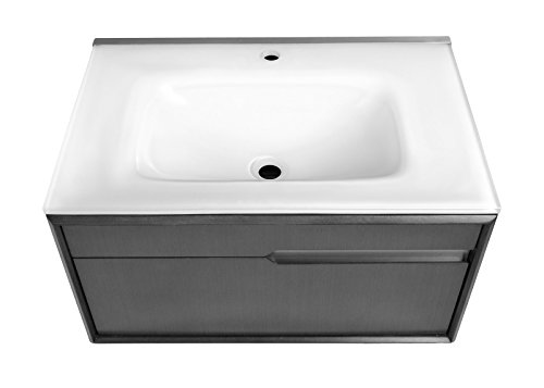 Decolav 1802-CHL Cityscape Wallmount Vanity With Glass Countertop, Charcoal