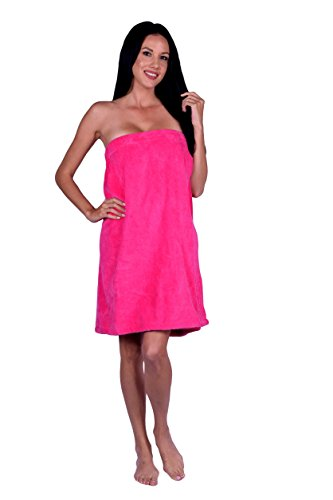 (Turquoise Textile Women's Terry Velour Spa Wrap, 100% Natural Turkish Soft Cotton, Made in Turkey (Hot Pink))