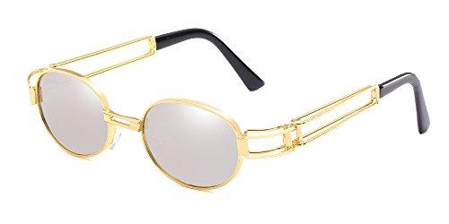 Dorado Hombres BOZEVON de Marco Retro de Gafas sol Gafas Mercurio Oval de blanco los UV400 de Doble 6pSq1