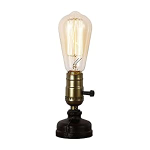 IJ INJUICY Retro Loft Rustic Vintage Industrial Steampunk Wrought Iron Edison Bulb Table Lights E27 Led Water Pipe Desk Lamps