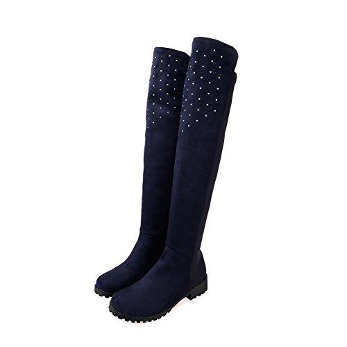 AllhqFashion Mujeres Caña Alta Mini Tacón Sólido Botas con Tachonado de Diamante de Imitación Azul