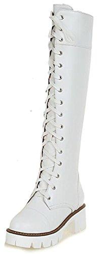 Knee Boots Platform White High (Summerwhisper Women's Trendy Lace up Round Toe Block Medium Heel Platform Knee High Riding Boots Shoes White 6.5 B(M) US)