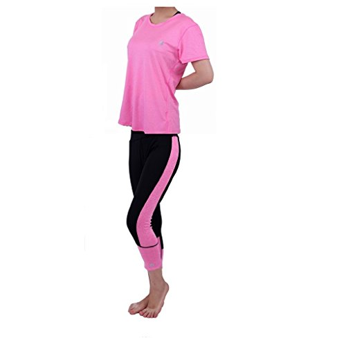 NEW GAILY Performance Activewear Women's Gym Outfit Set Yoga Capri Work-out Leggings Pants 2 Piece (L, PINK) (Piece 2 Capri Set)
