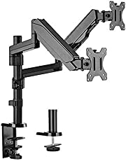 """Brateck Dual Monitor Full Extension Gas Spring Dual Monitor Arm (Independent Arms) Fit Most 17""""-32"""" Monitors Up to 8kg per Screen VESA 75x75/100x100"""
