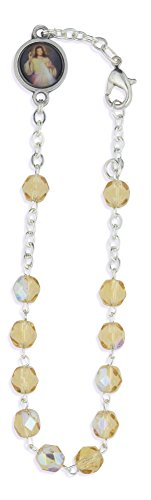 Crystal One Decade Rosary Bracelet (Topaz)