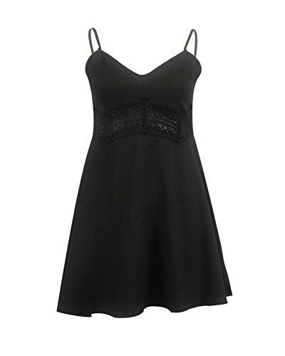 las mujeres Vestido de verano Vestido Corto de Playa Verano sin Mangas con Estampados Floral Negro