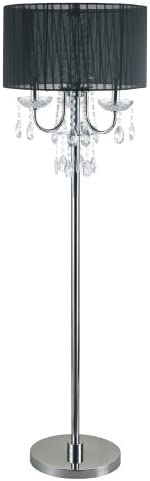 Sh Lighting Elegant Crystal Inspired Multi-Light Floor Lamp – Features 3-Bulb Light Convenient Foot Switch – 62.5 Tall Perfect for Living Room, Bedroom, or Home Office – Black Chrome