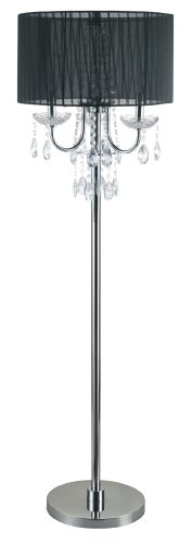 Major-Q SH-6733F-BK Crystal Inspired Floor Lamp, Large, Black