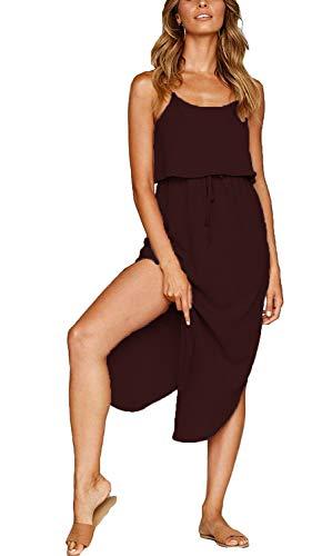 MISSLOOK Women's Adjustable Spaghetti Straps Sundress Irregular Hem Split Slip Dress Sleeveless Summer Beach Midi Dress - Burgundy M