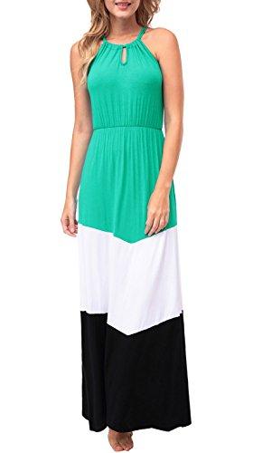 Kranda Ladies Summer Bohemian Halter Sleeveless Chevron Maxi Dress (X-Large, Grass Green)