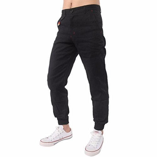 (AMSKY❤Men Trousers,Harem Sweatpants Slacks Casual Jogger Sportwear Baggy Comfy Pants Active Running Tracksuit (L, Black) )